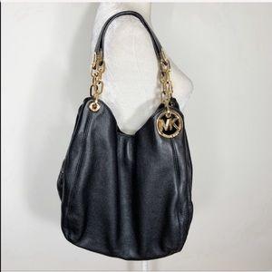 MICHAEL KORS black leather Fulton large hobo purse